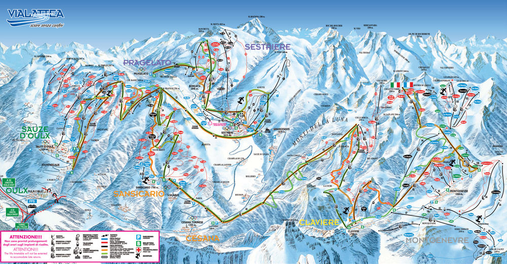 Piste map Ski resort Sestriere / Via Lattea