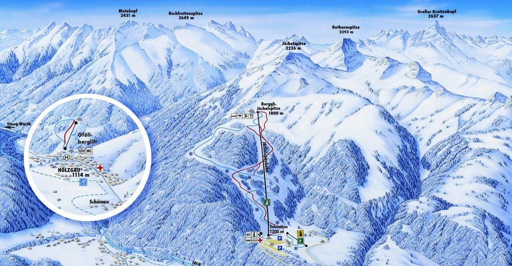 Bakkeoversikt Skiområde Jöchelspitze - Lechtaler Bergbahnen