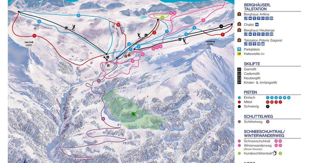Planul pistelor Zonă de schi Fideriser Heuberge