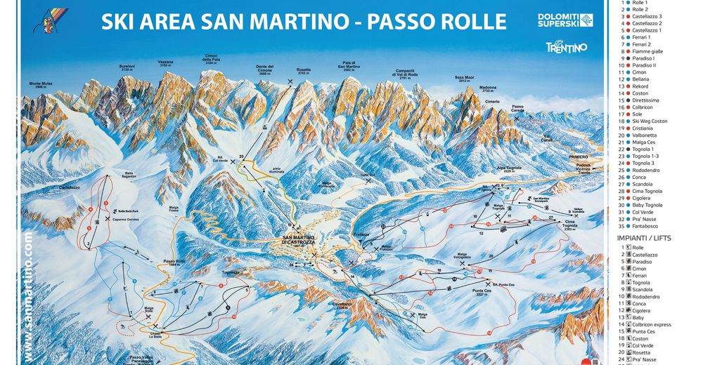 Piste map Ski resort San Martino di Castrozza / Rolle Pass
