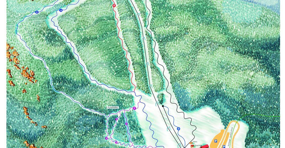 Planul pistelor Zonă de schi Arrach-Eck-Riedelstein