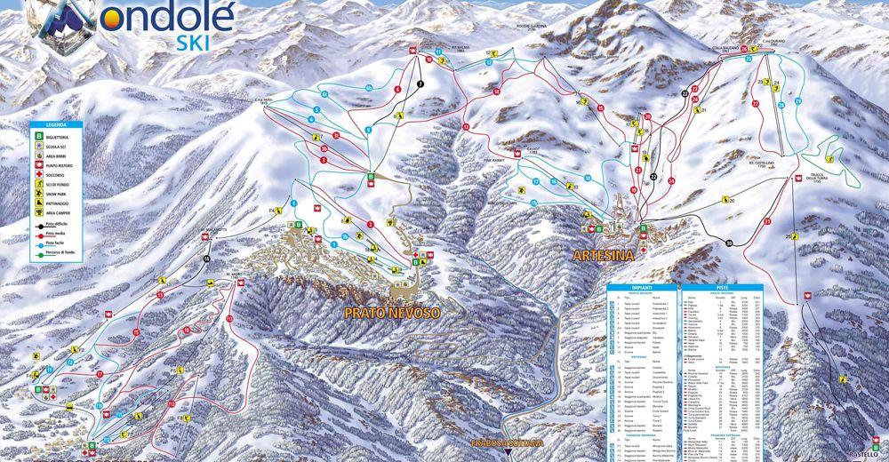 Bakkeoversikt Skiområde Prato Nevoso / Artesina / Frabosa Soprana
