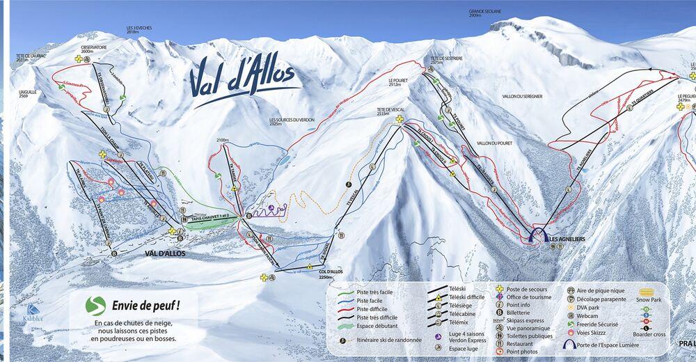 Piste map Ski resort Val d'Allos - La Foux / Espace Lumière