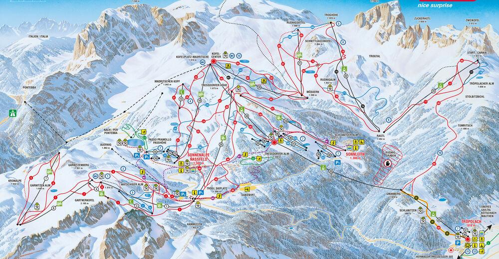 Plan skijaških staza Skijaško područje Nassfeld