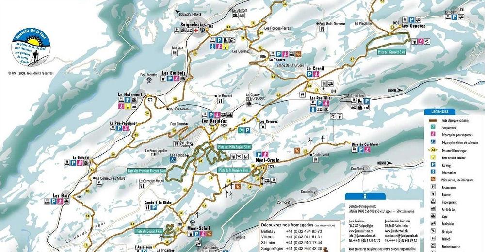 Pistenplan Skigebiet Les Genevez