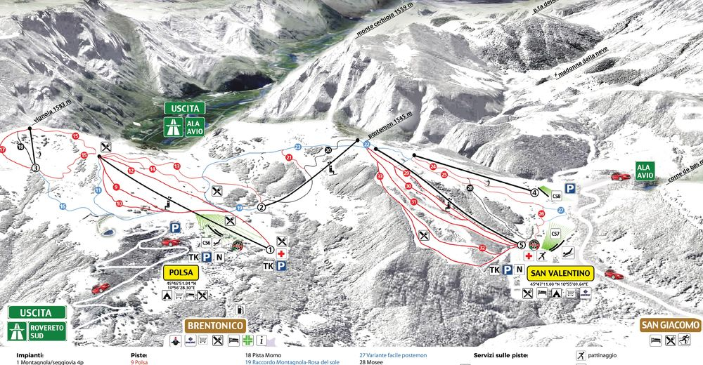 Mapa zjazdoviek Lyžiarske stredisko Altopiano di Brentonico - Polsa - S. Valentino
