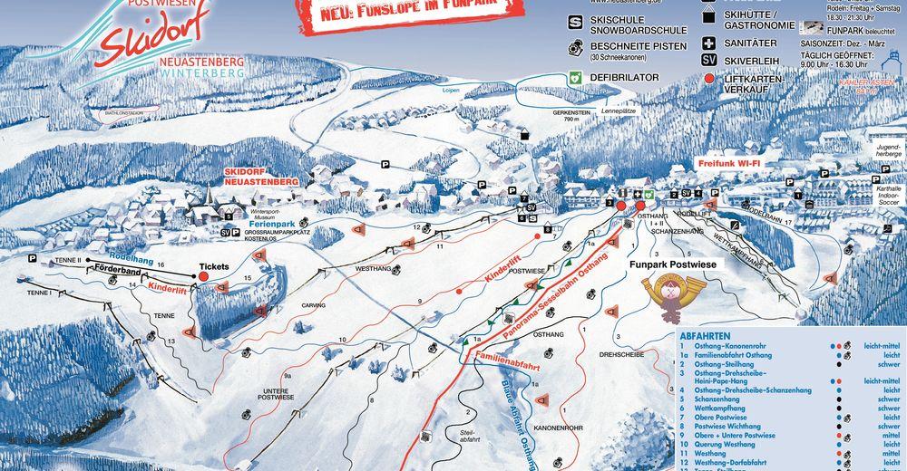 Planul pistelor Zonă de schi Postwiese - Neuastenberg