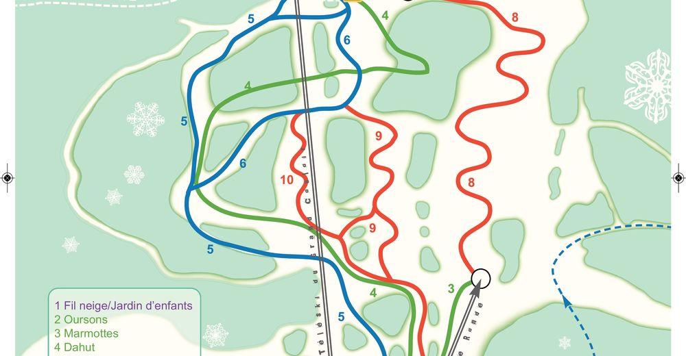 Plan skijaških staza Skijaško područje Hauteville - Terre Ronde