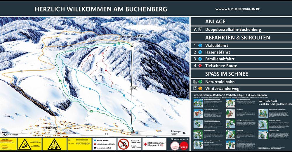 Planul pistelor Zonă de schi Buchenbergbahn - Buching