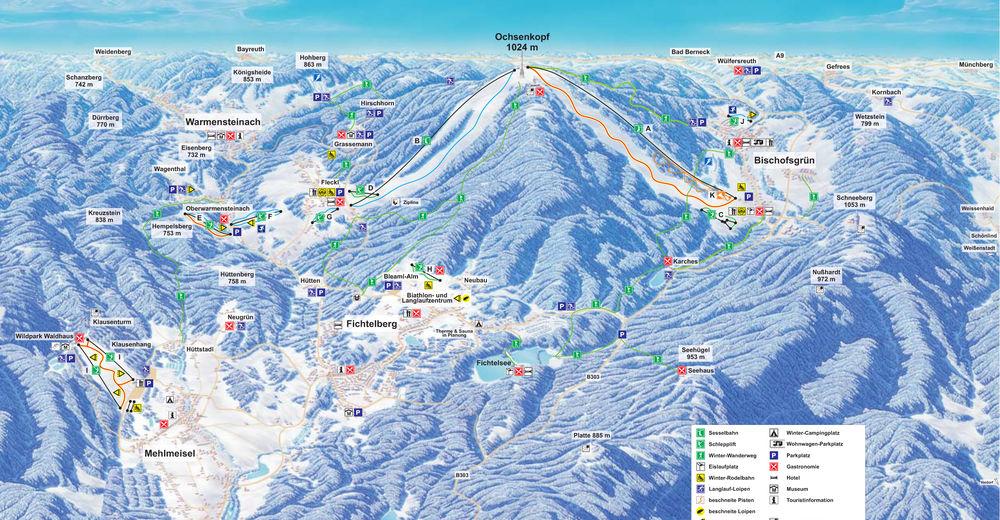Pistenplan Skigebiet Hempelsberg - Geiersberg / Oberwarmensteinach