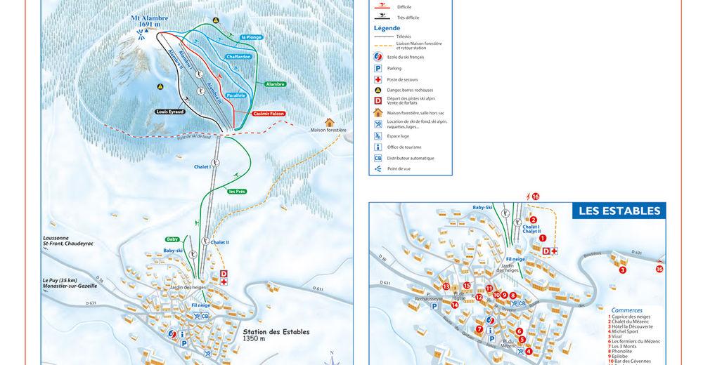 Pistenplan Skigebiet Mézenc - Les Estables