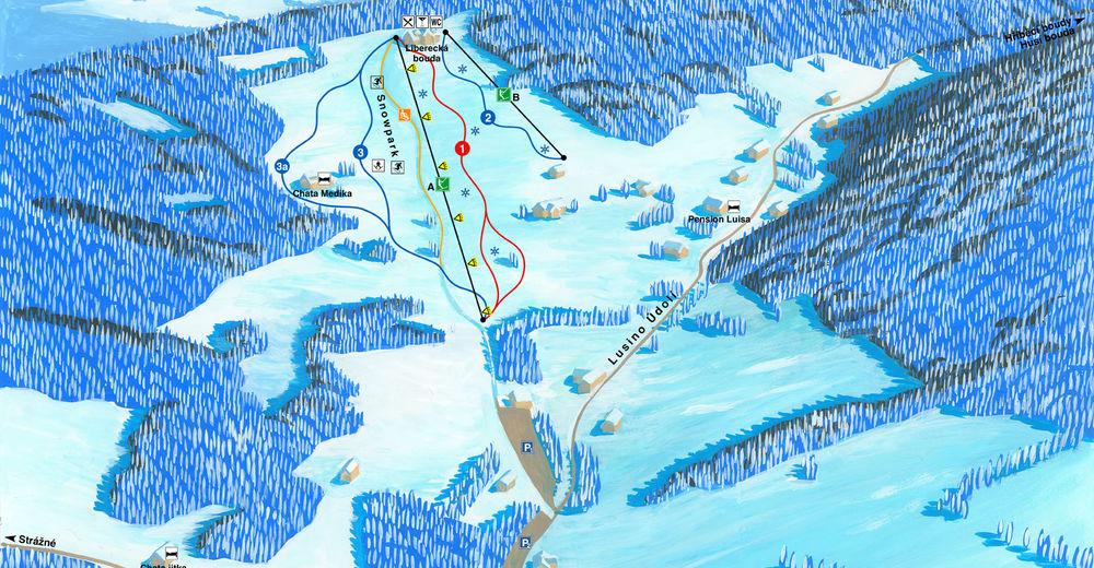 Pisteplan Skiområde Luisino údolí
