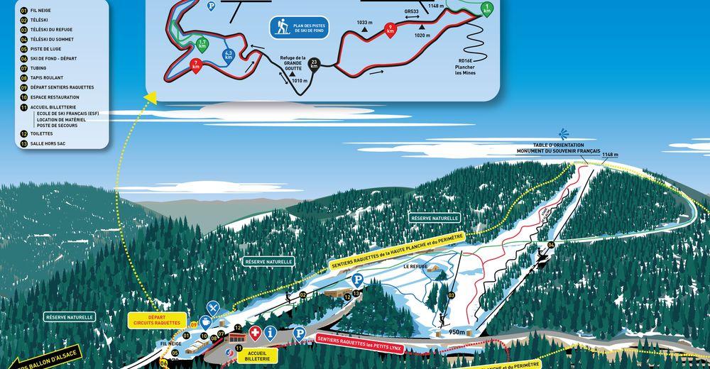 Plan de piste Station de ski Planche des Belles Filles