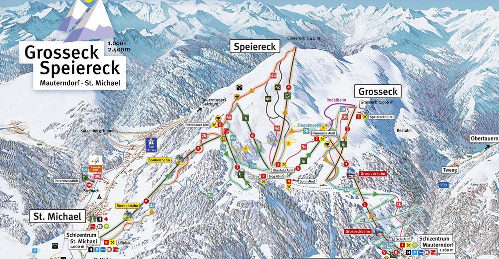 Plan skijaških staza Skijaško područje Großeck - Speiereck - Mauterndorf