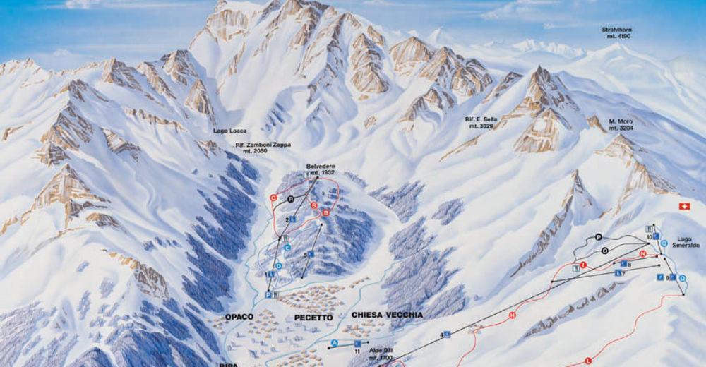 Pisteplan Skigebied Macugnaga