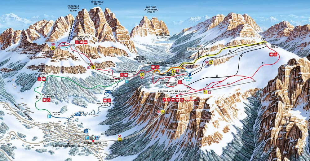Piste map Ski resort Faloria - Monte Cristallo - Mietres