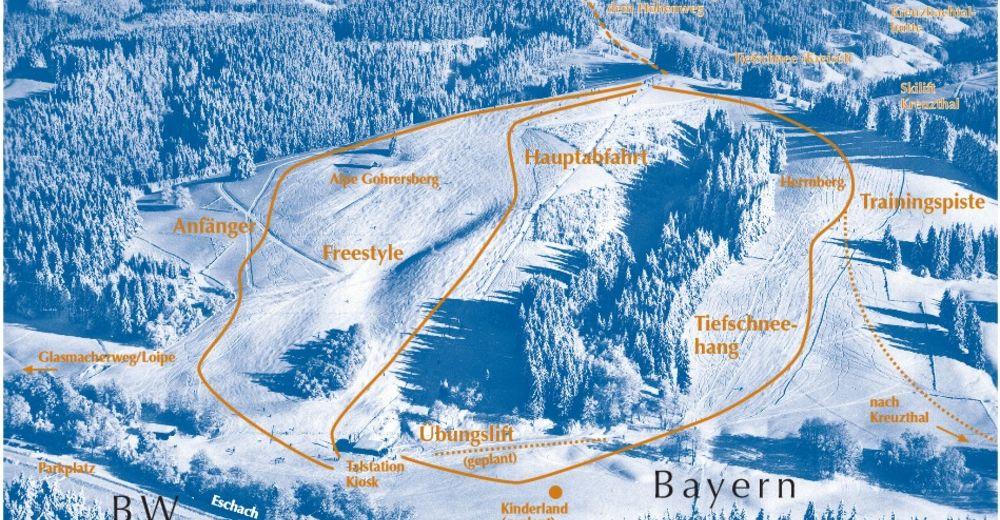 Pistenplan Skigebiet Skilift Gohrersberg / Kreuzthal