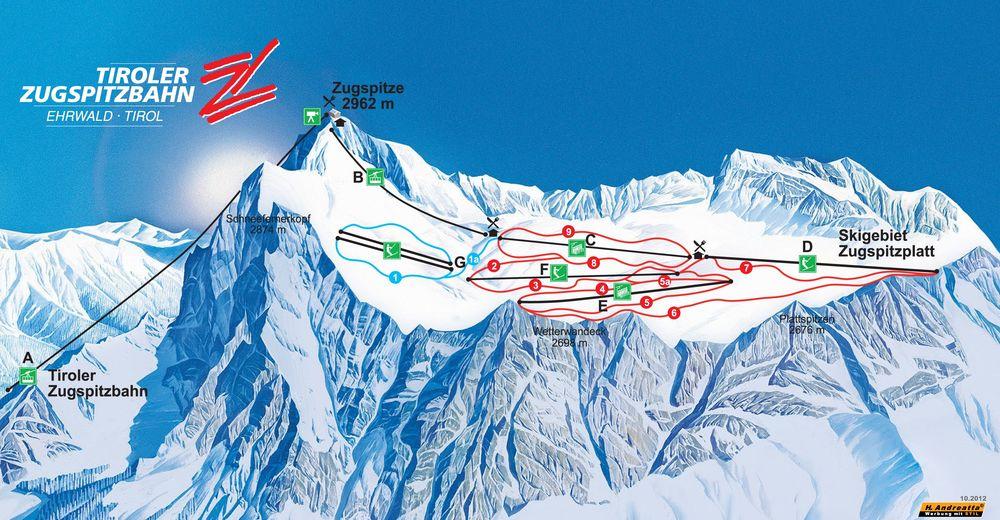 Plan de piste Station de ski Tiroler Zugspitzbahn