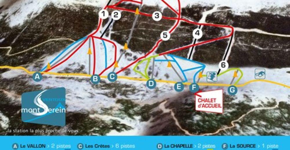Plan de piste Station de ski Mont Serein - Mont Ventoux