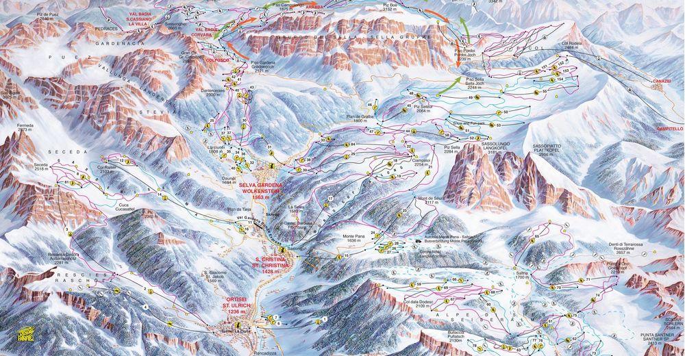 Bakkeoversikt Skiområde Dolomites Val Gardena / Gröden - St. Ulrich