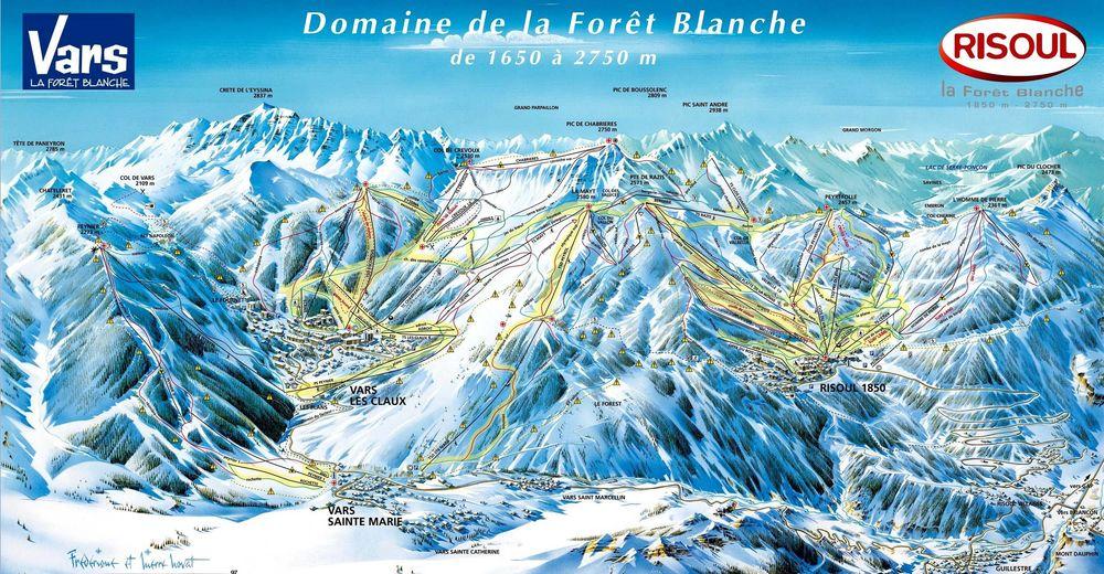 Bakkeoversikt Skiområde Risoul - La Fôret Blanche