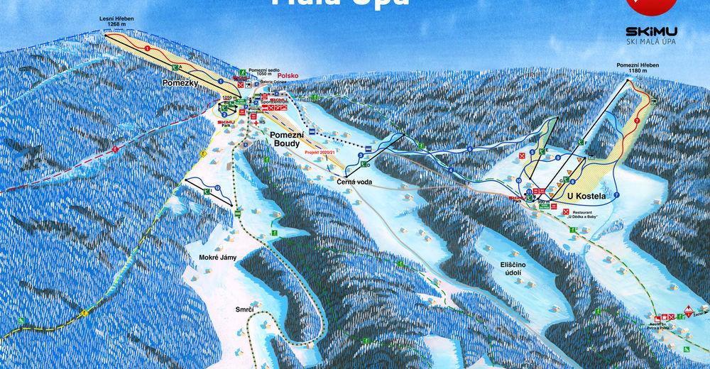 Plan skijaških staza Skijaško područje Malá Úpa