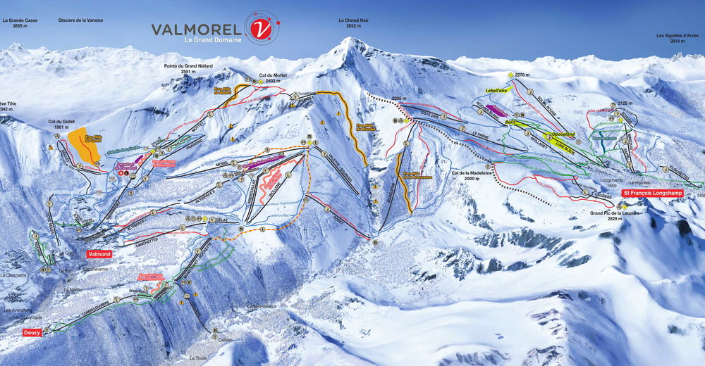 Piste map Ski resort Valmorel - Le Grand Domaine