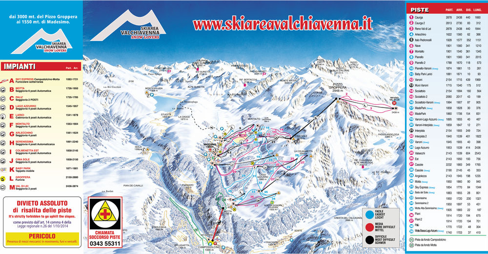 Plán sjezdovky Lyžařská oblast Valchiavenna - Madesimo/Campodolcino