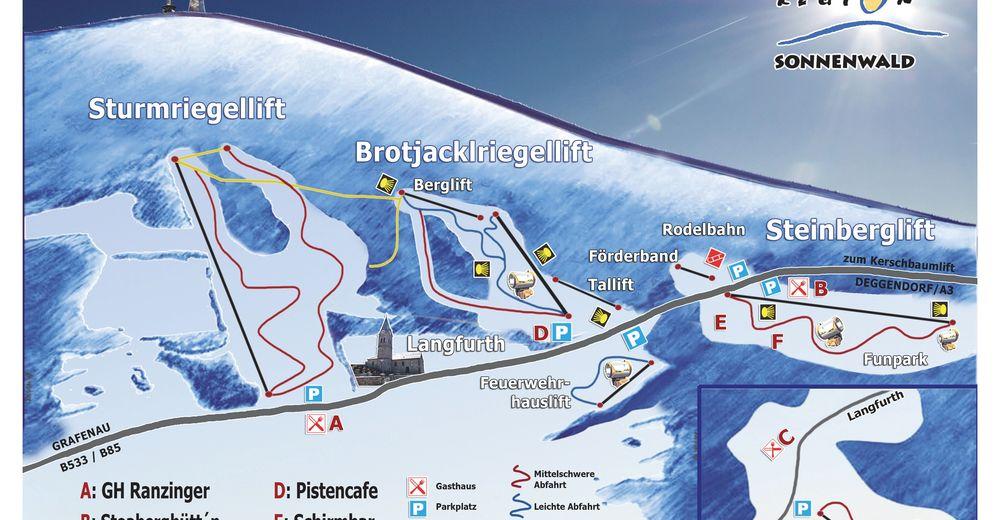 Pistplan Skidområde Sonnenwald