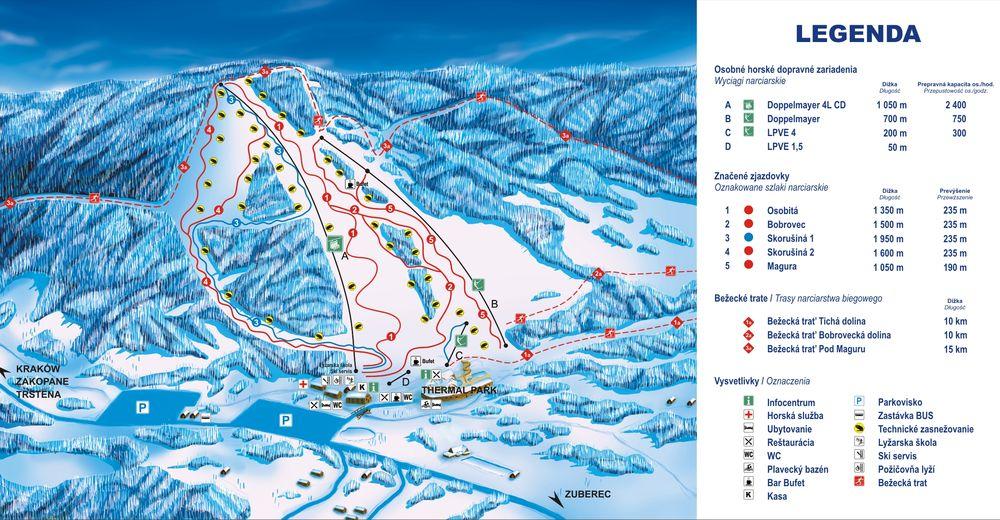 Planul pistelor Zonă de schi SKI ORAVICE Meander Skipark