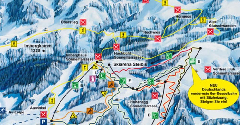 Plan skijaških staza Skijaško područje Skilifte Schindelberg