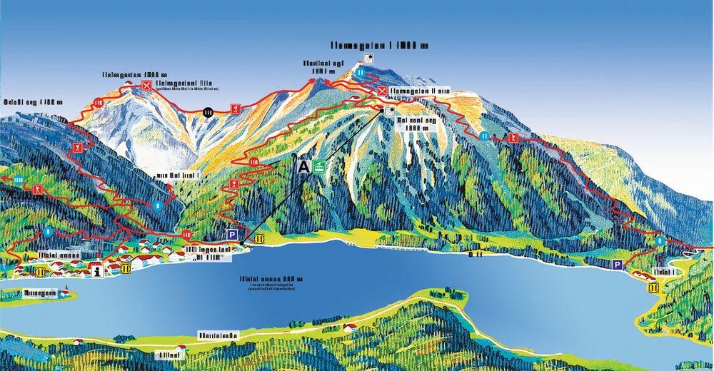 Pisteplan Skiområde Herzogstand - Walchensee