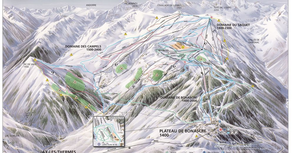 Pisteplan Skigebied Ax 3 Domaines - Ax-les-Thermes