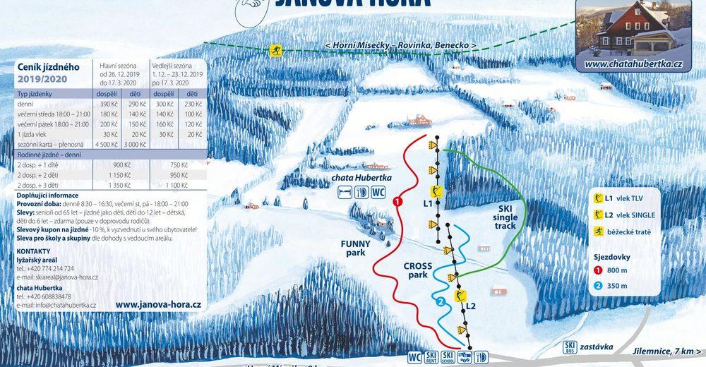 Planul pistelor Zonă de schi Janova Hora