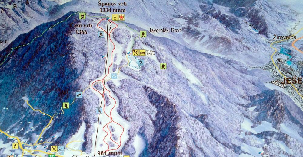 Pistenplan Skigebiet Španov vrh