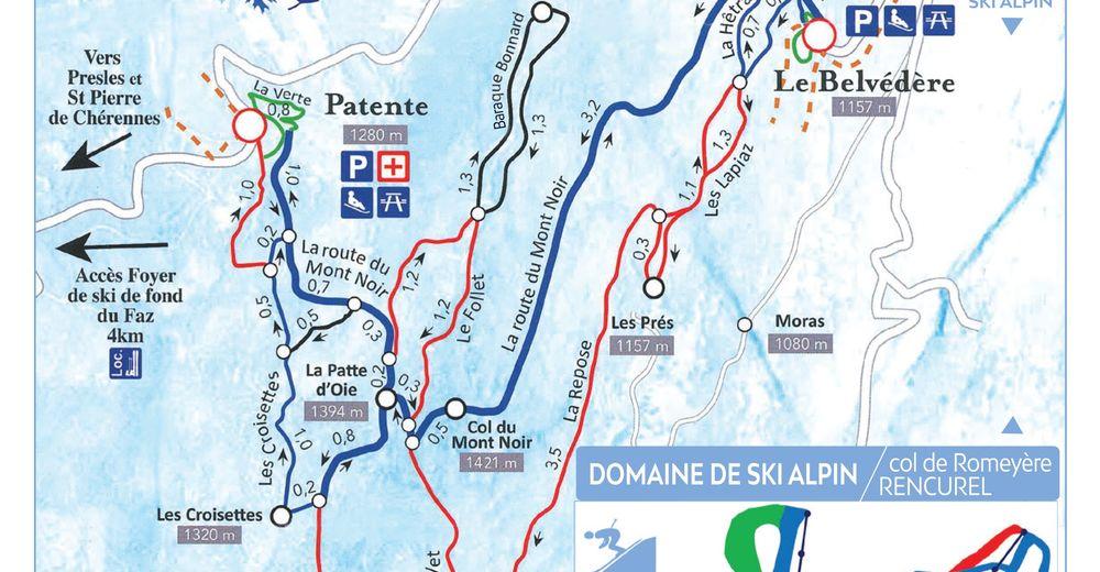 Pistenplan Skigebiet Rencurel - Col de Romeyère