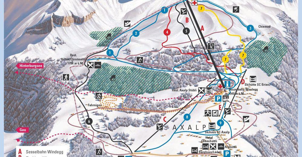 Pisteplan Skiområde Axalp / Brienz