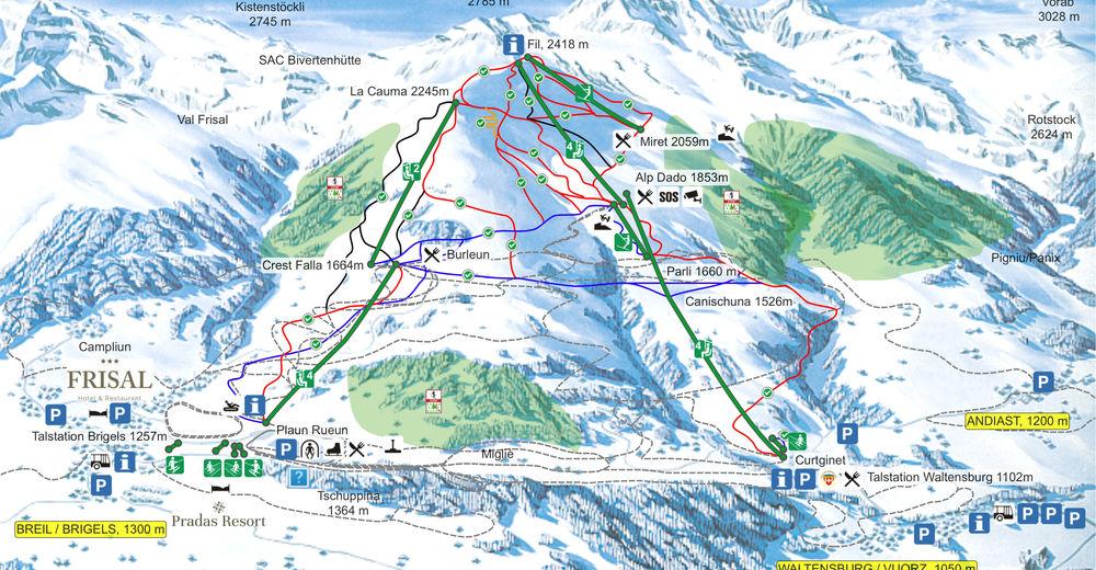 Plan skijaških staza Skijaško područje Brigels Waltensburg Andiast