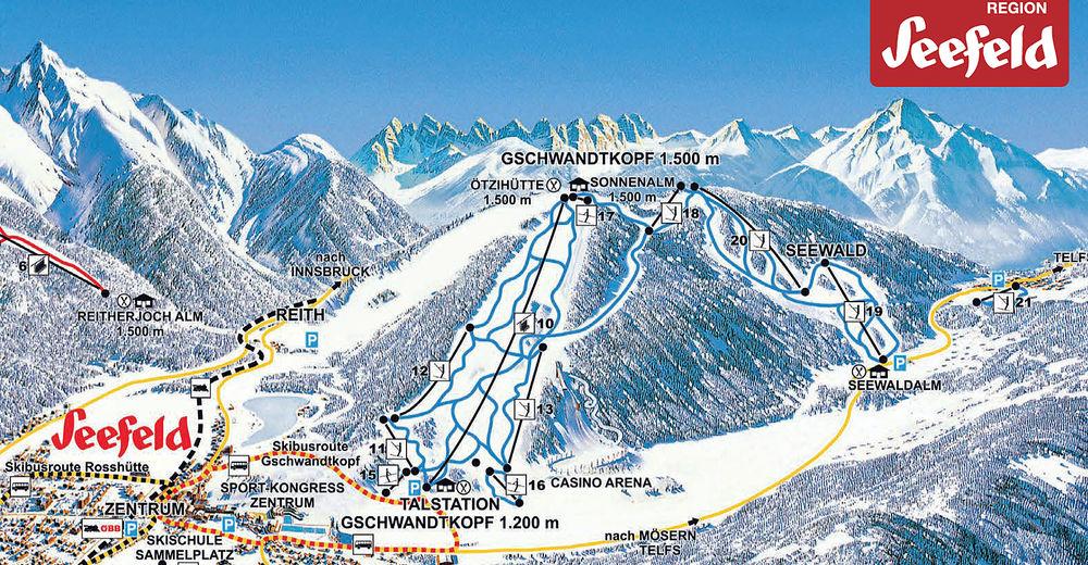 Pistplan Skidområde Seefeld / Gschwandtkopf