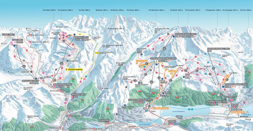 Planul pistelor Zonă de schi Corvatsch - Furtschellas