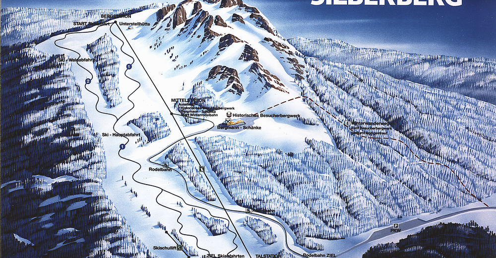 Mapa zjazdoviek Lyžiarske stredisko Bodenmais - Silberberg
