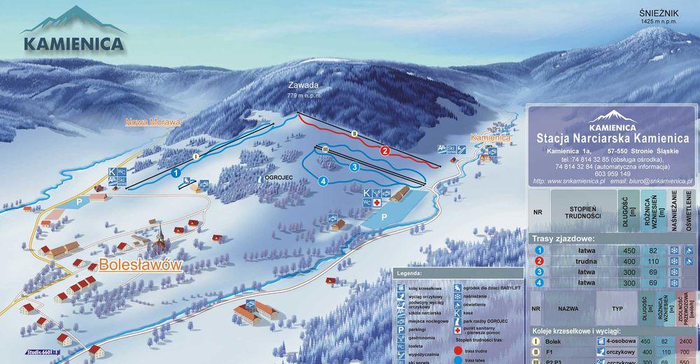 Planul pistelor Zonă de schi Stacja Narciarska Kamienica