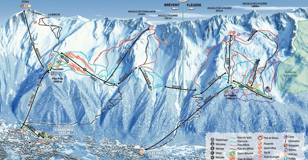 Bakkeoversikt Skiområde Brévent - Flégère / Chamonix