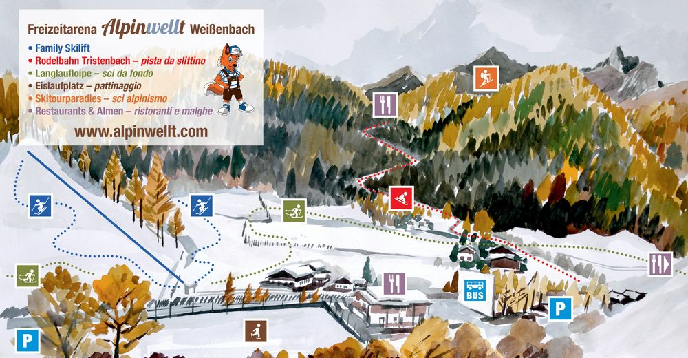 Piste map Ski resort Alpinwellt Weissenbach / Family Skilift
