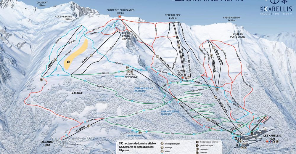 Piste map Ski resort Les Karellis