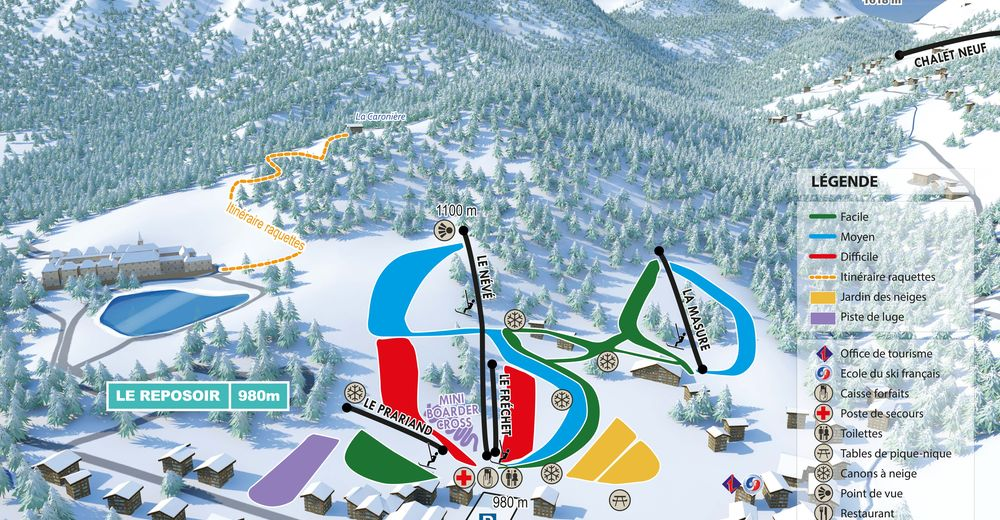 Pistenplan Skigebiet Le Reposoir - Le Village