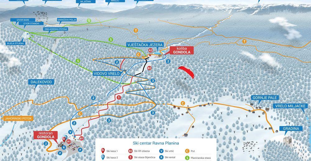 Bakkeoversikt Skiområde Ravna Planina