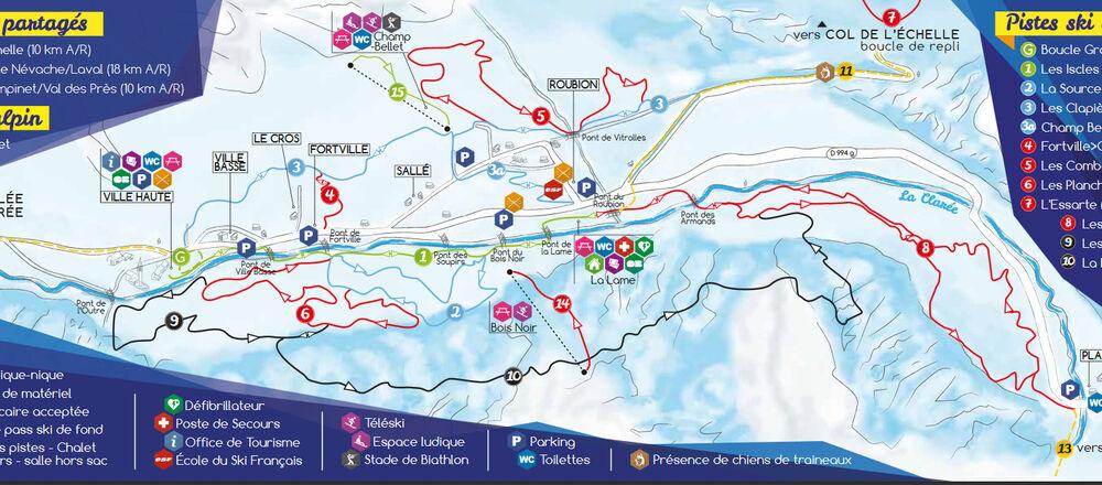 Loipenplan Névache - Vallée de la Clarée