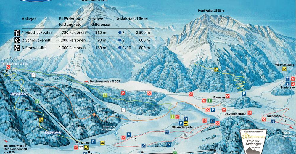 Pistenplan Skigebiet Hochschwarzeck - Ramsau bei Berchtesgaden