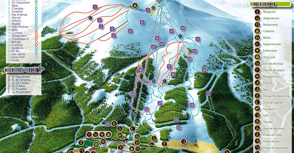 Plan de piste Station de ski Manzaneda